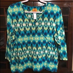🌺NWOT Ruby Rd Teal Multi Blouse🌺